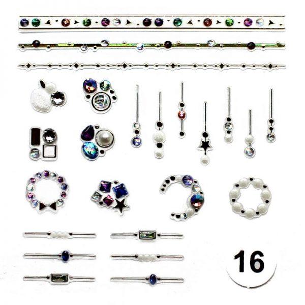 Набор наклеек для дизайна ногтей «Фреска ювелирная №16» (маленькая)