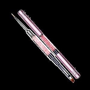Кисть-трансформер с кристаллами Swarovski для китайской росписи №4 и тонкой прорисовки №000 (розовая)