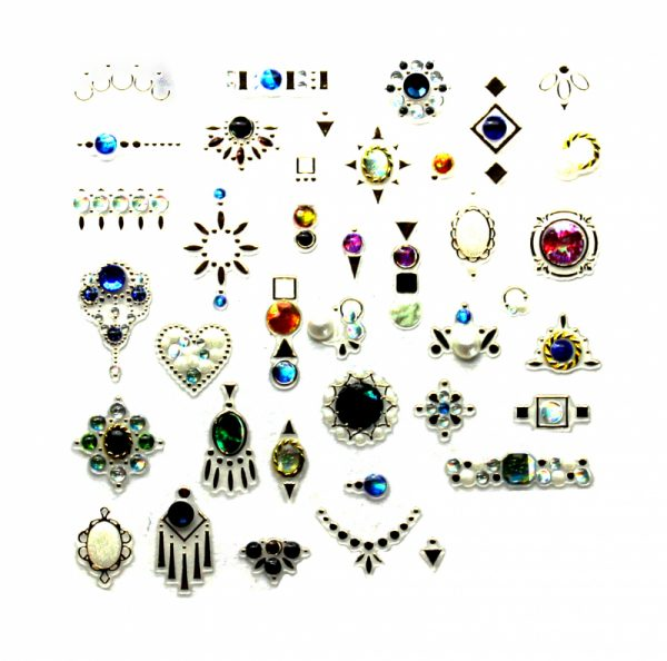 Набор наклеек для дизайна ногтей «Фреска ювелирная №18» (маленькая)