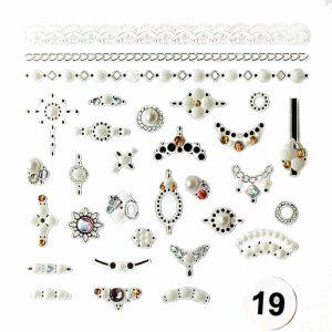 Набор наклеек для дизайна ногтей «Фреска ювелирная №19» (маленькая)