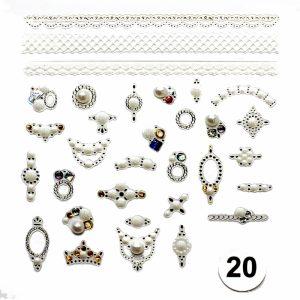 Набор наклеек для дизайна ногтей «Фреска ювелирная №20» (маленькая)